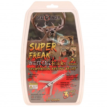 """Dead Ringer DR5207 White Tail Freaks """"Super-Freak"""" Broadhead"""